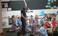 Alan Tongue visiting the students at Sacred Heart Central School, Cootamundra